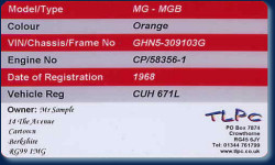 Vehicle ID Example (Reverse of card)